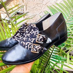 Michael Kors Monkstrap cow print buckle loafers
